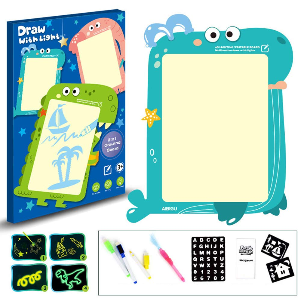 YBcars 3D Luminous Drawing Board Graffiti Doodle Drawing Tablet Magic Draw with Light-Fun Fluorescent Pen A3 Elephant Models 4 Pens for Children Two in one