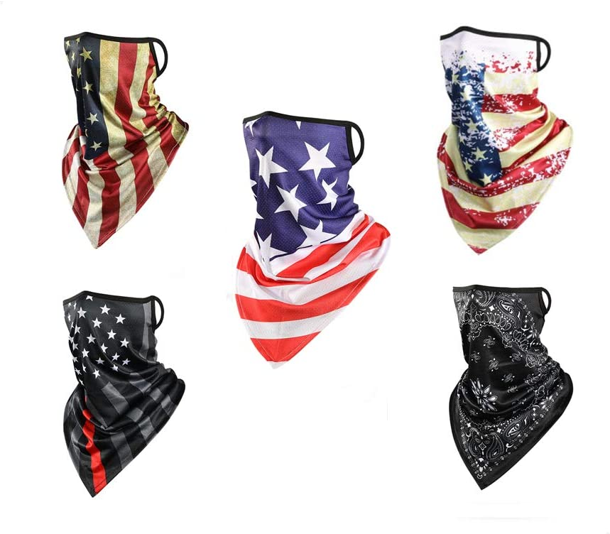 Triangle UV Protection Neck Gaiter Face Shield Ears Loop Wind Dust Proof Scarf Sunscreen Breathable Bandana Balaclava for Cycling Fishing Workout Ice Silk Face Mask American Flag 5 Pack