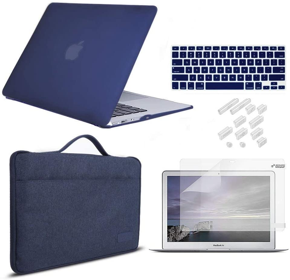MacBook Pro 13 Inch Case 2019 2018 2017 2016 Release A2159/A1989/A1706/A1708, iCasso Hard Plastic Case, Sleeve, Screen Protector, Keyboard Cover & Dust Plug Compatible MacBook Pro 13'' - Navy Blue