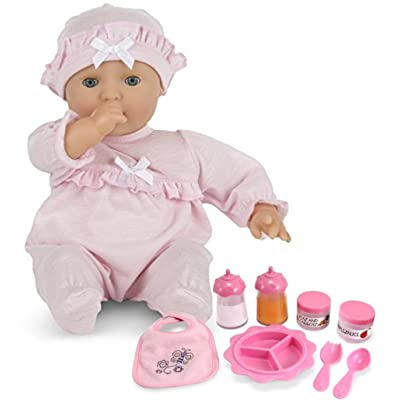 Melissa & Doug Bundle Includes 2 Items Mine to Love Jenna 12-Inch Soft Body Baby Doll with Romper and Hat Mine to Love Time to Eat Doll Accessories Feeding Set (8 pcs): Toys & Games