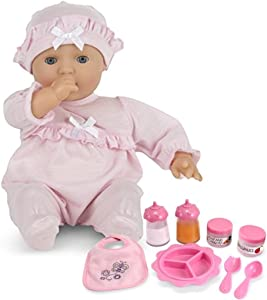 Melissa & Doug Bundle Includes 2 Items Mine to Love Jenna 12-Inch Soft Body Baby Doll with Romper and Hat Mine to Love Time to Eat Doll Accessories Feeding Set (8 pcs)