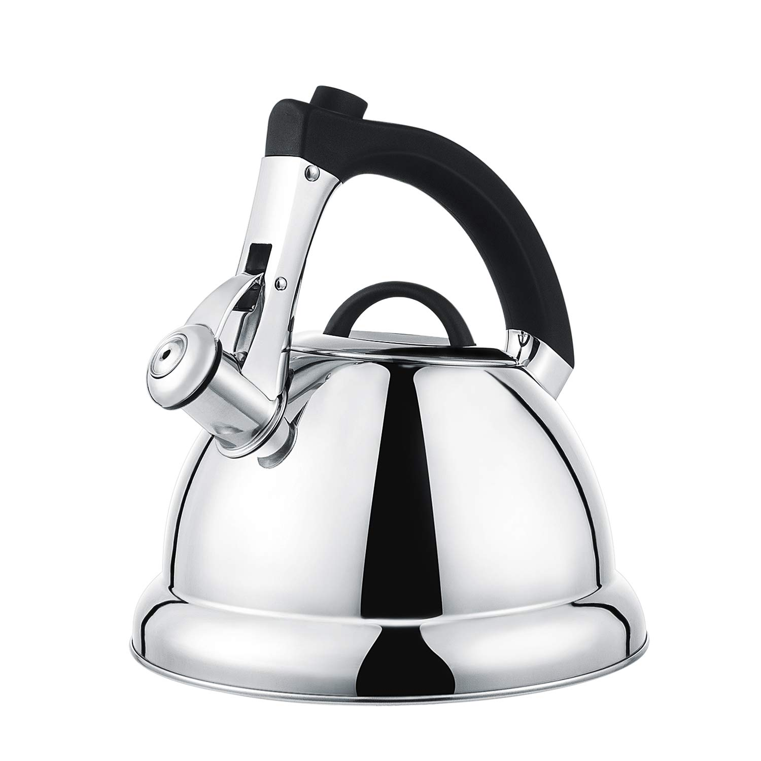 BYSURE Whisting Tea Kettle- Surgical 18/8 Stainless Steel Audible Whistle Teapot for All Stove Top with Heatproof Handle&Quick Heating Base,2.75 Quart/3 Liter