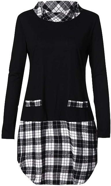 Fossen Mujer Camisa de Cuadros Botones Manga Larga Vestido Blusa de Moda Casual: Amazon.es: Ropa y accesorios