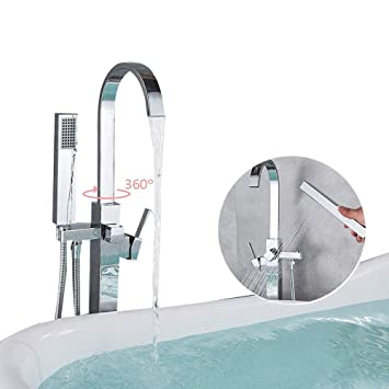 SHHENGSHIYUJIA Sistemas de Ducha para baño Chrome Brass Floor Standing Bañera para bañera Grifo para bañera Mezclador Grifo Llave de Ducha de Mano Diseño ...