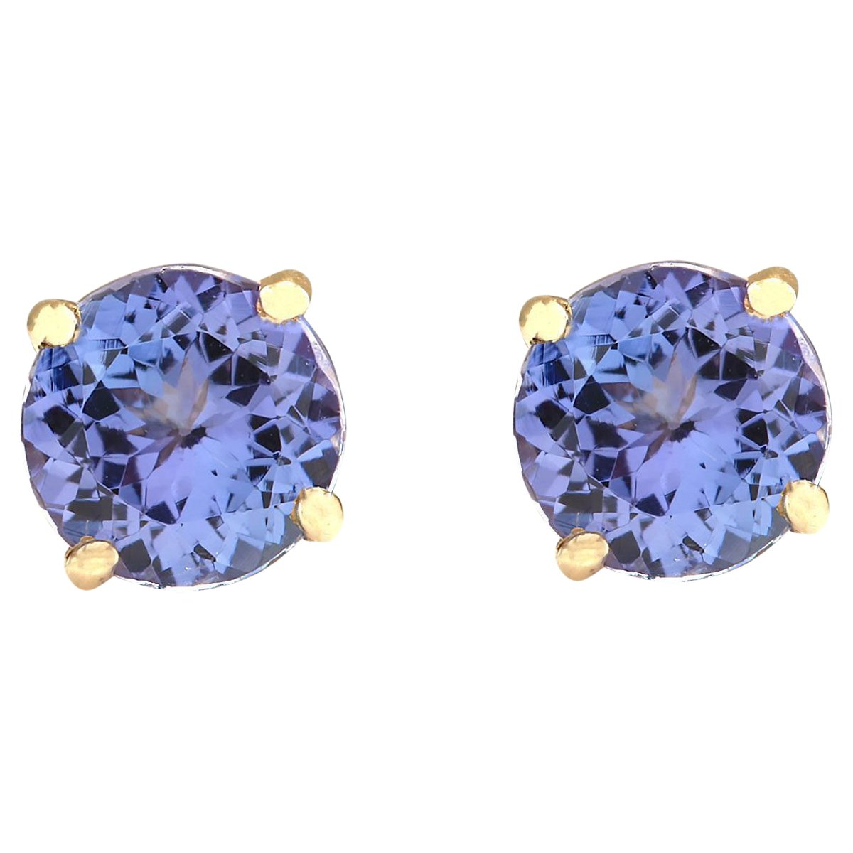 2.3 Carat Natural Blue Tanzanite 18K Yellow Gold Solitaire Stud Earrings for Women Exclusively Handcrafted in USA