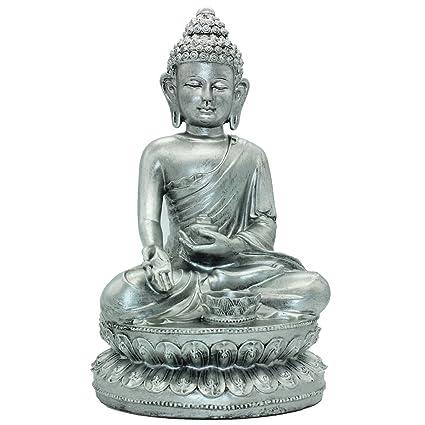 Amazon Com 14 17 H Nepal Buddha Statue Silver Resin Crafts Home