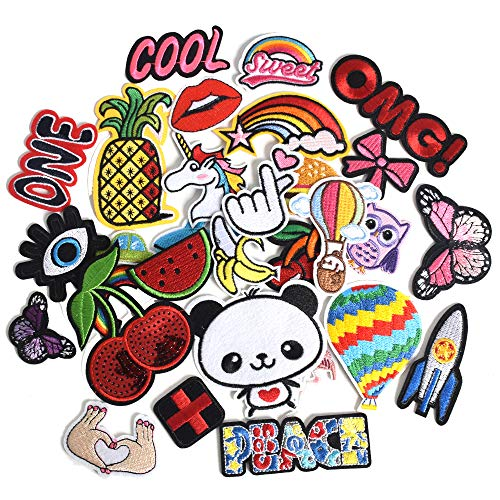 J.CARP 30Pcs Random Assorted for Girls Embroidered Iron on Patches, Cute Sewing Applique for Clothes Dress