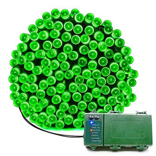 KOMOON Battery Operated String Lights 72 Ft 200 LED Christmas Decorative Fairy Lights for Garden Patio Lawn Curtain Xmas Tree Party Holiday Wedding (Green)]()