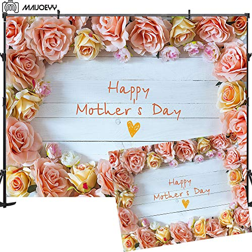 Maijoeyy 7x5ft Mother's Day Photography Backdrop Wood Flower Photo Backdrop for Photography Stone Orchid Decoration Backdrop for Picture Party Photography Props Photo Background for Studio ()