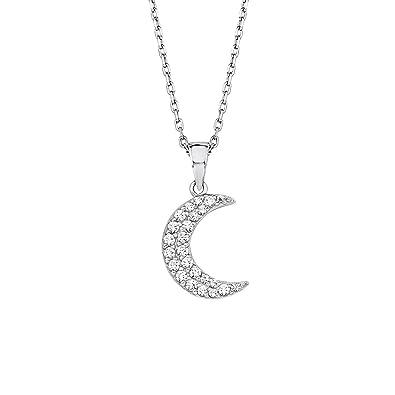 Amor Damen-Kette 42+3 cm mit Anhänger Mond Halbmond 925 Silber rhodiniert  Zirkonia weiß  Amazon.de  Schmuck fd95b5d051