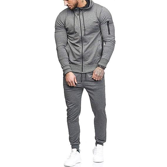 Hoodies For Men, Clearance Sale! Pervobs Men's Autumn Patchwork Zipper Sports Suit Tracksuit Sets Sweatshirt + Pants by Mens Hoodies