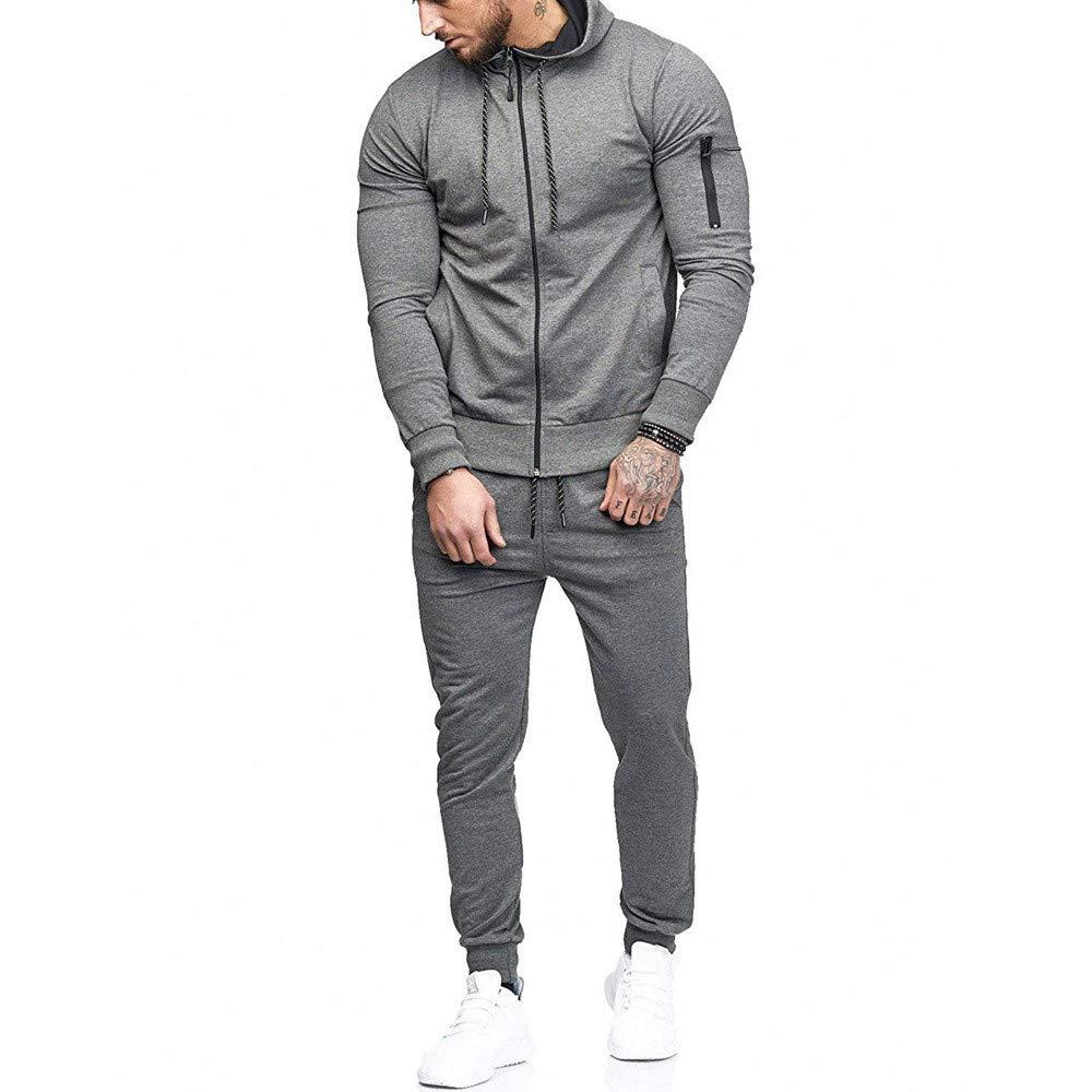 Hoodies for Men, Clearance Sale! Pervobs Men's Autumn Patchwork Zipper Sports Suit Tracksuit Sets Sweatshirt + Pants