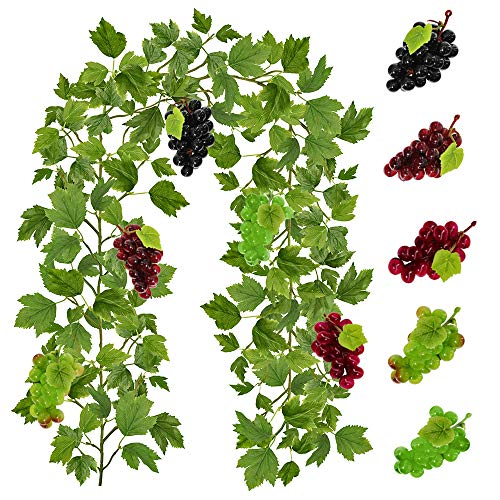 (Supla 4.9' Long Artificial Grape Leaf Garland Hanging Ivy Garland Ivy Leaf Greenery Vines Garland with Assorted Grapes for Winery Events Wedding Decoration)