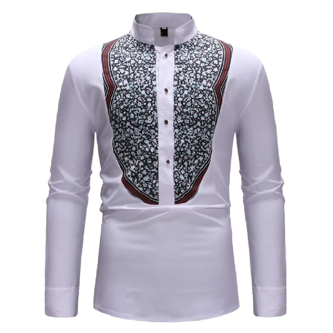 Sayah Mens Plus Size Floral Printed Lounge Business Work Shirt