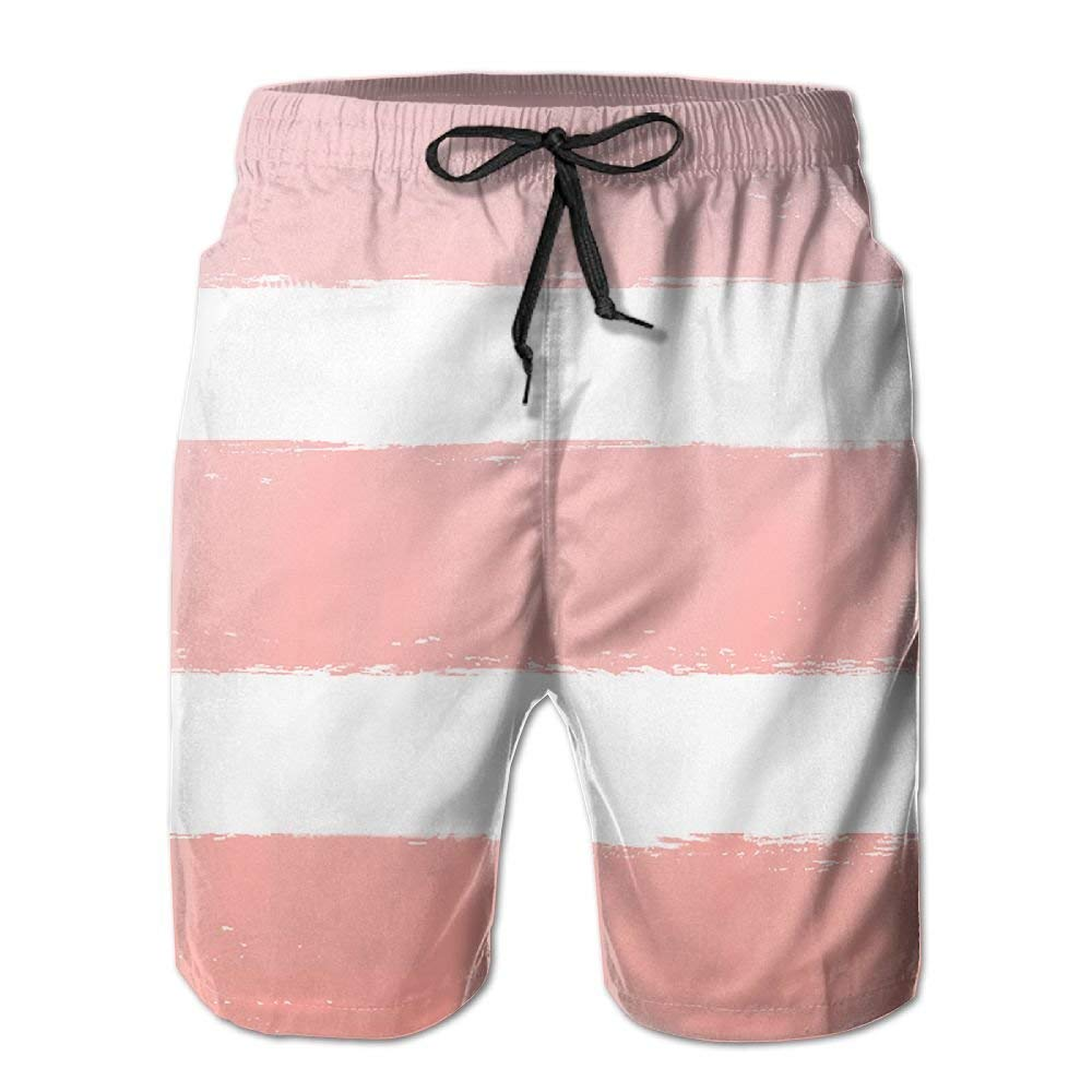 WZnWei Orange Color Stripe Athletic Mens Shorts Beach Swim Trunk Summer