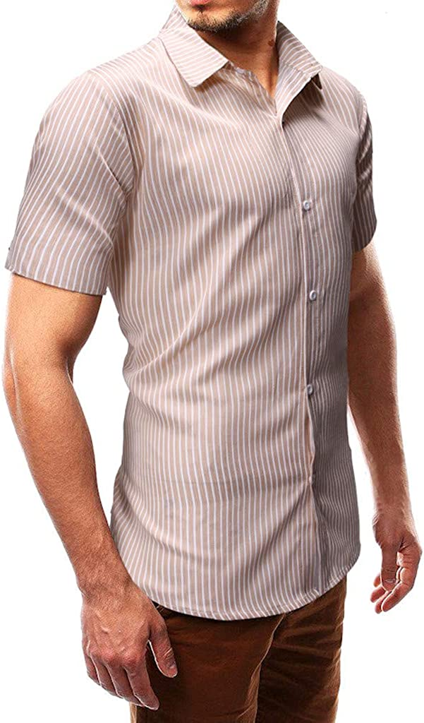 TiTCool Mens Short Sleeve Casual Slim Fit Vertical Striped Button Down Shirt