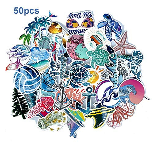 muyingzhuo Beach Stickers 50pcs Blue Surfing Waves Fresh Lively Turtle Laptop and Water Bottle Vinyl Decals Cartoon Vitality Aesthetic Sticker Pack for Teens, Girls, Vinyl Decals (Beach Wave)
