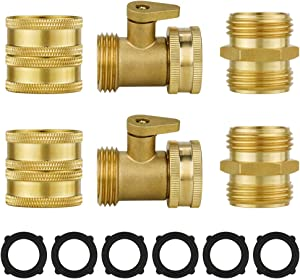 "AHCSMRE Solid Brass Garden Hose Connector|2 Pack Male to Male + 2- Pack Female to Female Brass Hose Connectors 3/4""+ 2 Pack Brass Garden Hose Shut Off Valve + Extra 6 Pcs Pressure Washers"