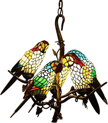 Makernier Tiffany Style Chandelier Ceiling Light Fixture Hanging Pendant Light Stained Glass Vintage Antique Style 5-Light Parrots Tree Branch
