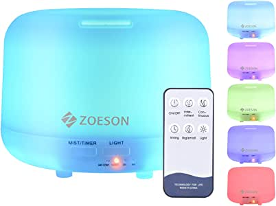 Zoeson Essential Oil Diffuser, 300ML Ultrasonic Aromatherapy Fragrant Oil Vaporizer Humidifier, Timer and Auto-Off Safety Switch, 7 LED Light Colors, Remote Control…