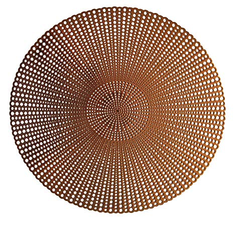 "Wintop 16"" Round Vinyl Metallic Placemats Hollow Out Design, Set of 6, Gradual Raindrop Functional Mat for Dining Table Durable Non-Slip,Copper - Pressed and hollowed placemats, liquid can go through. Includes: 6 pcs metallic placemats. Shiny copper color, beautiful accent to wood tables. Simply wipe clean with a damp cloth or rinse with a faucet, dry quickly. - placemats, kitchen-dining-room-table-linens, kitchen-dining-room - 61z%2B0Qzfj L -"