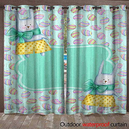 (BlountDecor Patio Gazebo Pergola Cabana Happy Easter Postcard Template with Watercolor Bunny Rabbits Waterproof CurtainW108 x)