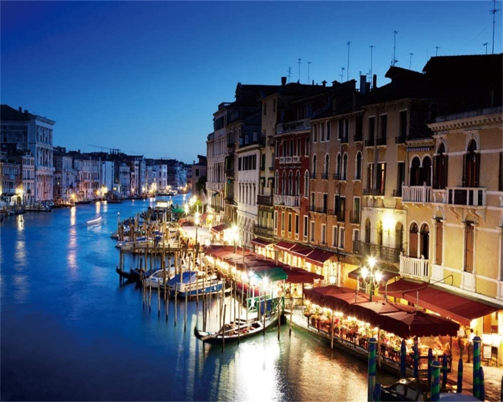 8x8FT Vinyl Wall Photography Backdrop,Venice,Famous Streets on Water Background for Party Home Decor Outdoorsy Theme Shoot Props