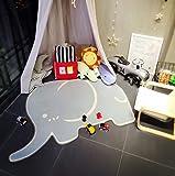 MineDecor Elephant Kids Rugs Animal Baby Play Crawl Mat Area Rug Children Carpet For Bedroom Living Room Playroom 3 x 5, Grey