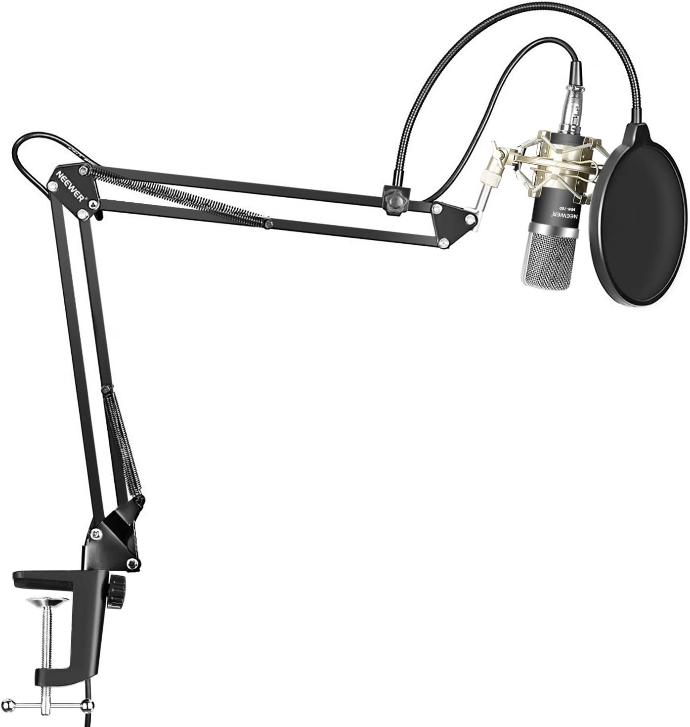 Neewer Condenser Microphone Kit - NW-700 Mic(Black), NW-35 Suspension Boom Scissor Arm Stand with Mount Clamp, Shock Mount (Silver), and Pop Filter for Home Studio Studio Broadcasting Recording