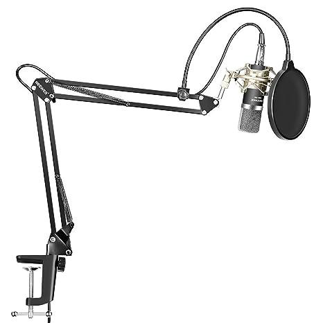 Neewer Micrófono Condensador Kit NW-700 Mic(Negro),NW-35 Soporte Brazo Boom Tijera Suspensión con Abrazadera Montaje,Montura Choque(Plata),Filtro Pop ...