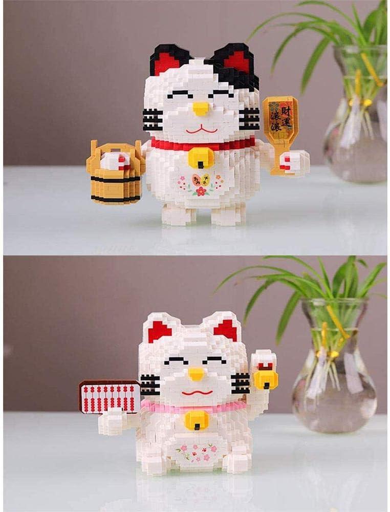SMUOO Lucky Cat Mini Nano Building Blocks Dibujos Animados Modelo 3D Puzzle Montado a Mano Muebles para el hogar Decoración Regalos-ábaco Barril de Madera