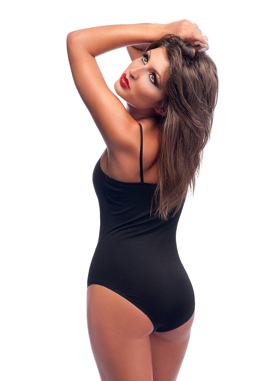 Bodysuit Damen  3 Verschluss Haken als Tanzbody geeignet Evoni Damen-Body mit Spagettitr/ägern Baumwoll Body mit Anderen Kleidungsst/ücken kombinierbar Basic Frauen Body T-Shirt