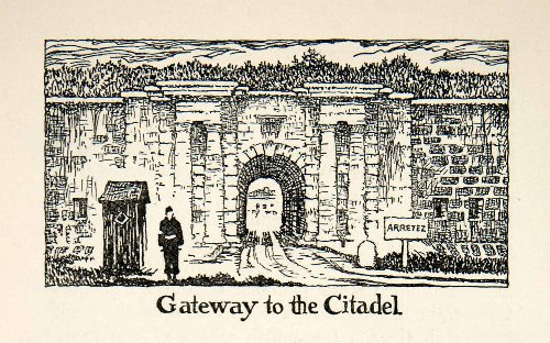 1947 Lithograph Gateway Citadel Quebec Canada Military Architecture Greek Norman - Original In-Text - Oakley Military Canada