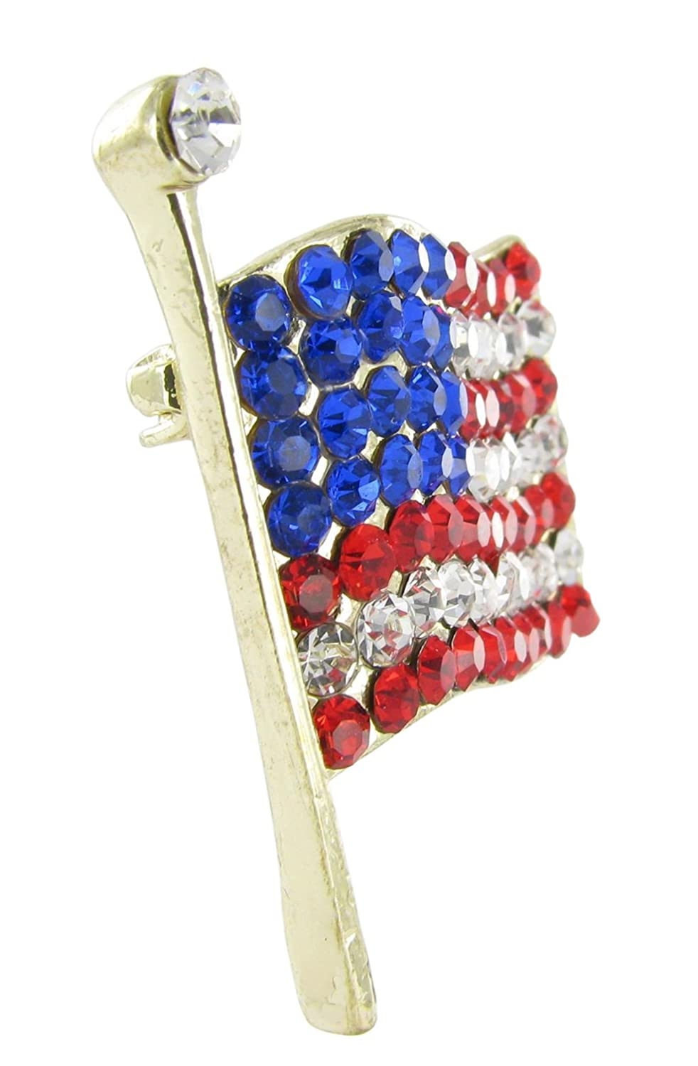 and Royal Blue Crystals Clear Medium Gold American Flag Brooch Pin Red