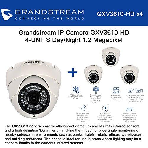 (Grandstream GXV3610-HD 4-Units Fixed Dome IP Camera Day/Night, 1.2 Megapixel Progressive Scan CMOS Image Sensor, 720p Resolution, 3.6mm Lens, Integrated Power-Over-Ethernet (802.3af))