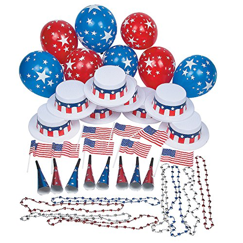 Fun Express - Patriotic Party Kit For 25 for Fourth of July - Party Supplies - Party Packs Adult & Family - Party Packs - Fourth of July - 1 Piece]()