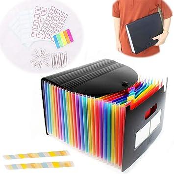 24 Pocket Plastic Expanding File Folder Document Paper Storage Organizer