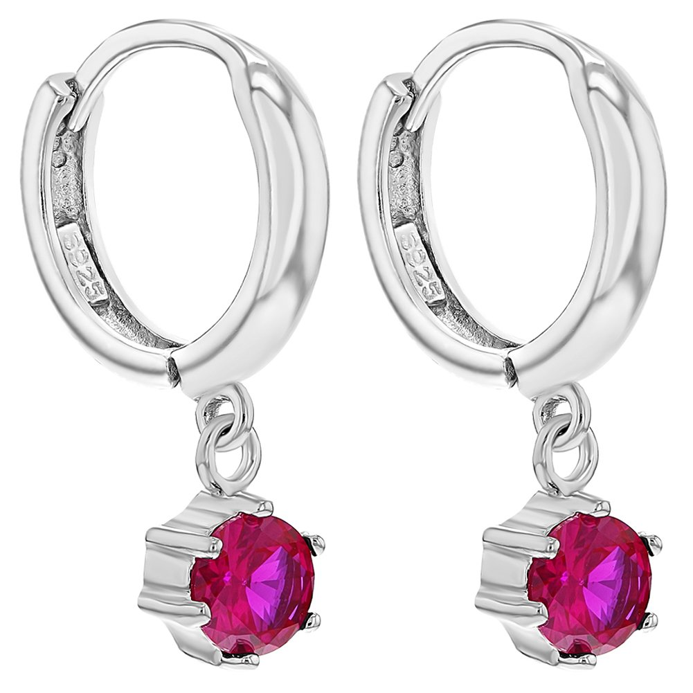925 Sterling Silver CZ Small Hoop Dangle Earrings for Girls Teens 0.39