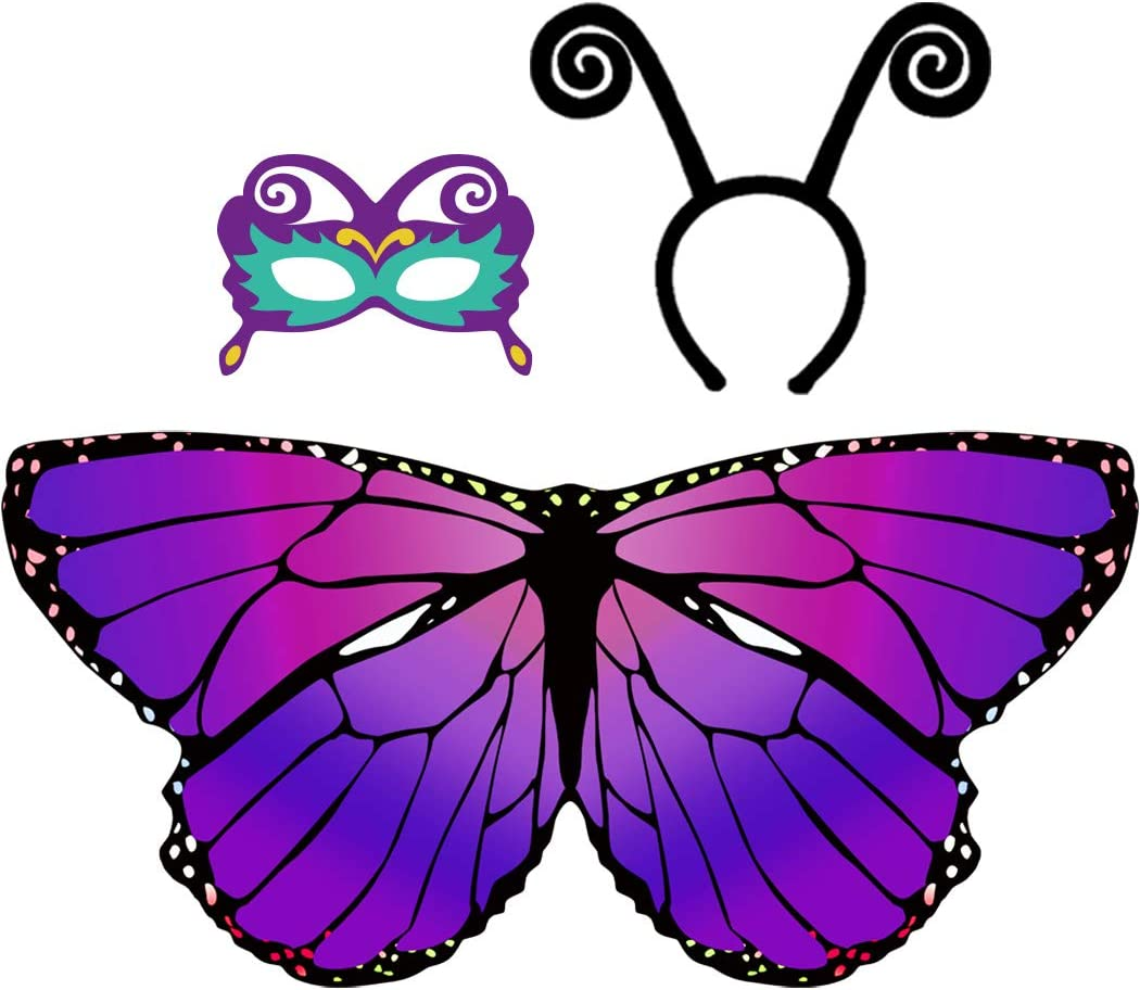 D.Q.Z Kid Butterfly Wings for Girls Dress Up Costume with Headband Mask (Purple)