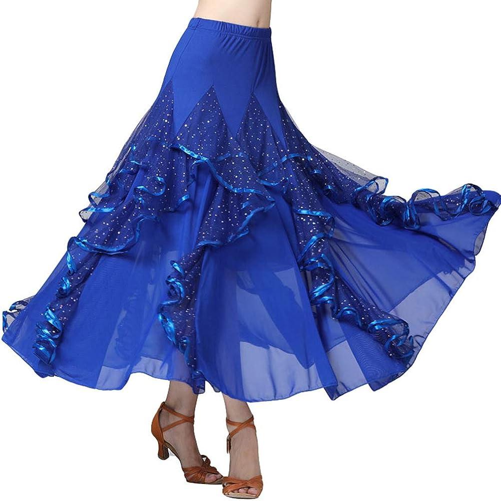 Zenbang Damas Danza Falda Larga Lentejuelas para Baile Latino ...