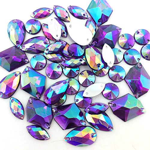 PEPPERLONELY 50PC Purple AB Color Sew On Mixed Shape & Size Flat Back Faceted Acrylic Crystals Rhinstones, 7~21mm