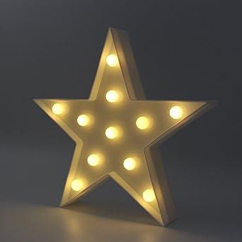 Lámpara de luz LED en forma de estrella, lámpara de mesa de noche ...
