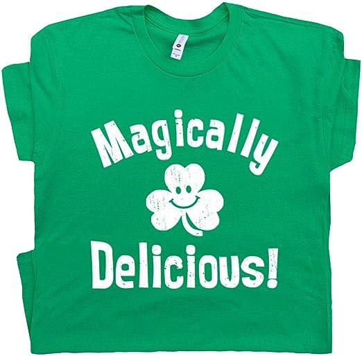 Womens Magically Delicious Tshirt Funny St Patricks Day Shamrock Irish Tee