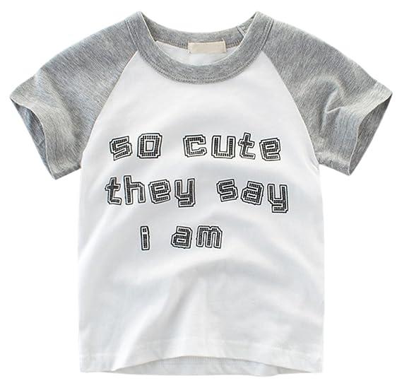 a6f2169a625 Betusline Kids Toddler   Little Boys Raglan Sleeves Cute Funny Graphic  T-Shirt Baseball Tee