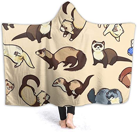 NiYoung Extra Soft Hoodie Throw Wrap for Bed Couch Chair Living Room Bats Black Blanket, 40x50 inch Large Wearable Blanket Super Warm Sherpa Flannel Travel Blankets