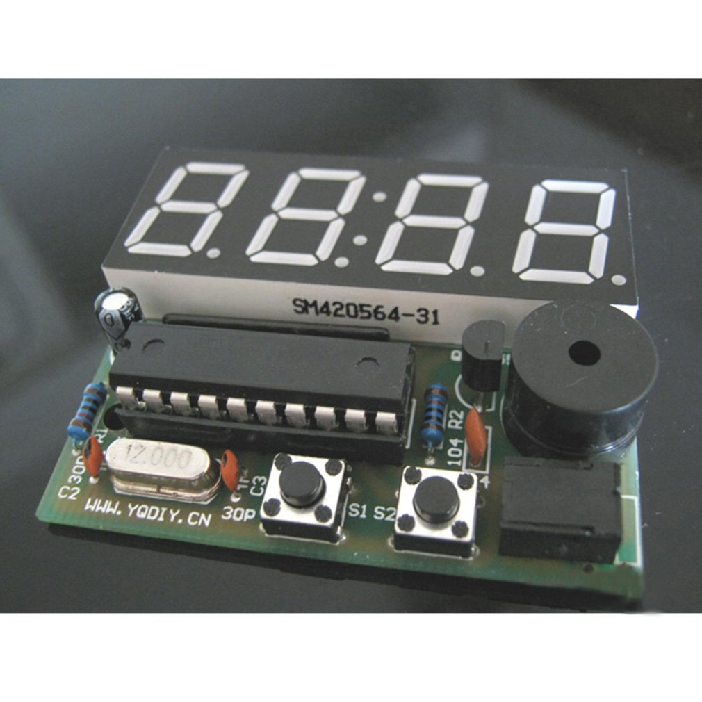 Hiletgo 056 Inch 4 Bit Red Digital Tube Electronic Circuit Production Project Diy Suite Kits Module Board Clock Kit Time Chip At89c2051 Fr Pcb For Students