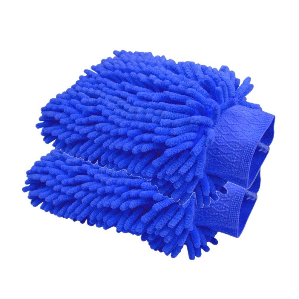 Happyit 2 PCS Autowä sche Handschuh Microfaser Chenille Wä sche Mitt Reinigung Wä sche Mitt Microfaser Schwamm Stoff Car Waschmaschine (Lila)