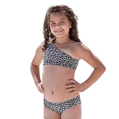 AliveGOT Baby Girls Two Pieces Sloping Shoulder Leopard Print Bowknot Swimwear Bikini Set