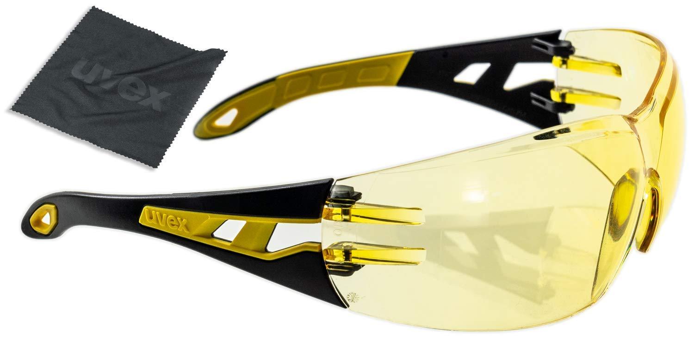 Uvex Pheos Gafas de Seguridad Amarillos - Protección Laboral - Antiarañazos y Antivaho, Incluye Paño de Limpieza
