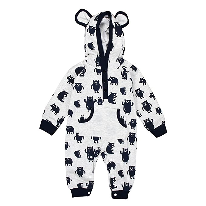 YanHoo Recién Nacido bebé niña Invierno Historieta Sudadera con Capucha Mameluco cálido Abrigo Outwear Ropa Ropa